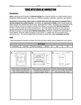 Worksheet - Mysteries of Conduction, Convection, and Radiation