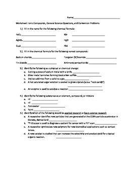 Worksheet: Naming Ionic Compounds, General Science Questions, Unit ...
