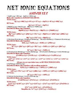 Worksheet - Net Ionic Equations