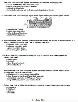 Worksheet - New York State Landscapes and the ESRT *Editable*
