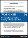 Worksheet - Newton's Laws of Motion (An Introduction)