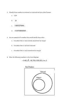 Worksheet: Number Sets (Natural, Integer, Rational, Irrational, Real)