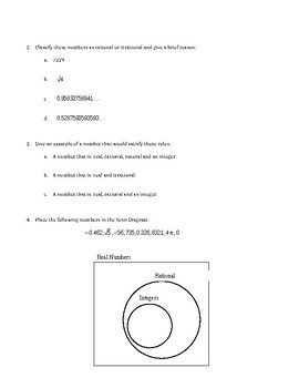 Worksheet: Number Sets (Natural, Integer, Rational, Irrational, Real)
