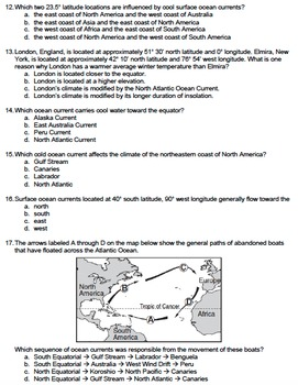 Worksheet - Ocean Currents *EDITABLE*