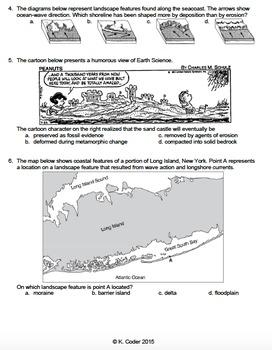 Worksheet - Ocean Wave Erosion and Deposition *Editable*