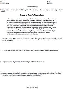Worksheet - Ozone Layer *Editable*