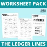 Worksheet Pack: 10 Ledger lines worksheet pack. Treble and