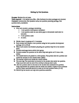 Worksheet Package that has Students Create Their Own Test Questions