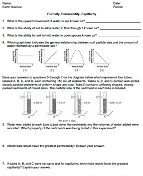 Worksheet - Permeability, Porosity, Capillarity *EDITABLE*