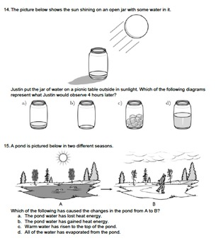 Worksheet - Phase Changes of Water (Multiple Choice) *EDITABLE*