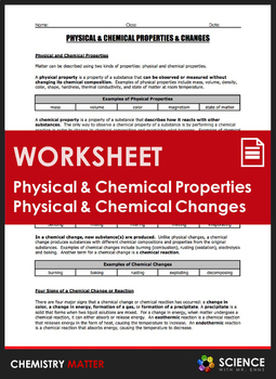 Worksheet - Physical and Chemical Properties and Changes