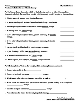 Worksheet: Potential and Kinetic Energy