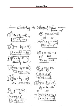 Worksheet  - Practice Converting Equations into Standard Form - Linear Equations