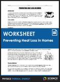 Worksheet - Preventing Heat Loss in Homes