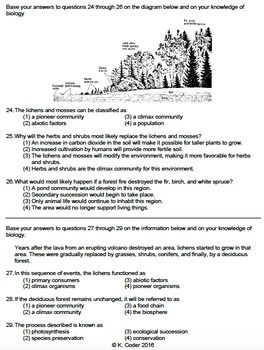 Worksheet - Primary Ecological Succession *EDITABLE*