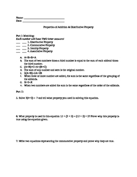 Worksheet Properties of Addition and Distributive Property