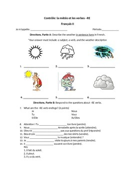 worksheet quiz weather expressions and re verbs in. Black Bedroom Furniture Sets. Home Design Ideas