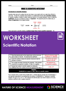Worksheet - What is Scientific Notation?