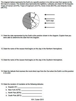 Worksheet - Seasons & Earth in Space *EDITABLE*