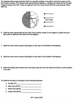 Worksheet - Seasons & Earth in Space *EDITABLE*