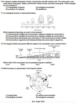 Worksheet - Secondary Ecological Succession *EDITABLE*