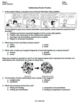 Worksheet - Sedimentary Rocks #2 *EDITABLE* (WITH ANSWERS EXPLAINED)