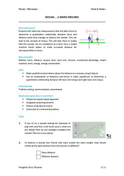 Worksheet - Seesaw...a simple machine