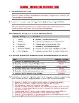 Worksheet - Separation Techniques for Separating Mixtures
