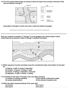 Worksheet - Sequence of Geologic Events *EDITABLE*
