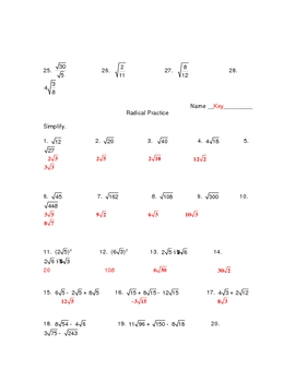 Worksheet- Simplifying Square Root Problems