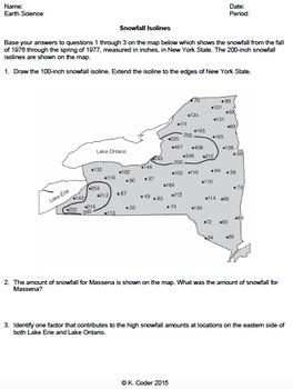 Worksheet - Snowfall Isolines *Editable*