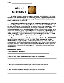worksheet solar system about mercury by travis terry tpt. Black Bedroom Furniture Sets. Home Design Ideas