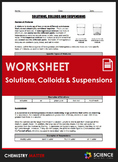Worksheet - Solutions, Colloids and Suspensions