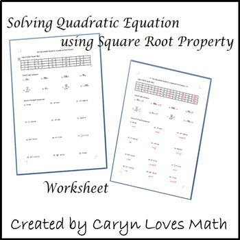 Solving Quadratic Equations using Square Root Method Worksheet | TpT