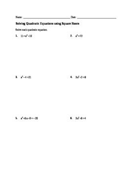 Worksheet: Solving Quadratics by Square Root