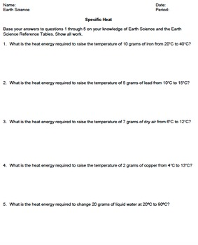 Worksheet - Specific Heat *Editable* | TpT