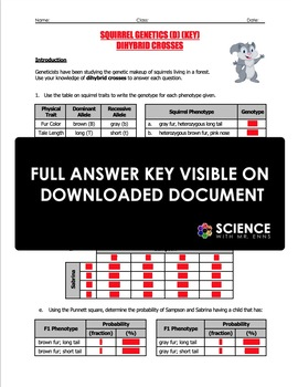 Worksheet - Squirrel Genetics With Dihybrid Crosses (Part ...