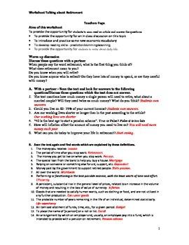 Worksheet Talking about retirement,Social studies,Economics topic