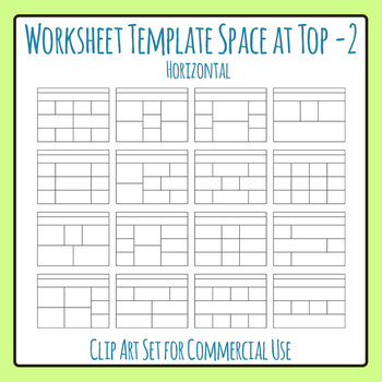 Worksheet Template / Layout - Horizontal Extra Space at Top 02 Clip Art