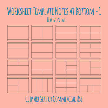 Worksheet Template / Layout - Note Space at Bottom 01 Clip Art Commercial Use