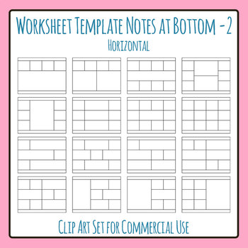 Worksheet Template / Layout - Note Space at Bottom 02 Clip Art Commercial Use