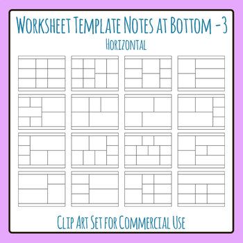 Worksheet Template / Layout - Note Space at Bottom 03 Clip Art Commercial Use