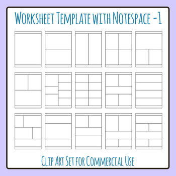Worksheet Template / Layout - Vertical with Note Space at Bottom 01 Clip Art
