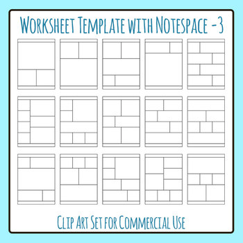 Worksheet Template / Layout - Vertical with Note Space at Bottom 03 Clip Art