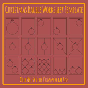 Worksheet Templates Christmas Baubles Blank Clip Art Set for Commercial Use