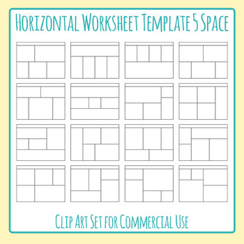 Worksheet Templates Daily Five Horizontal Five Space Layouts 5 Section Clip Art