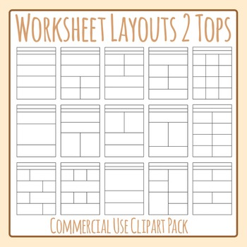 Worksheet Templates / Layouts 2 Headers Clip Art Pack for Commercial Use