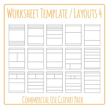 Worksheet Templates / Layouts 4 Clip Art Pack for Commercial Use