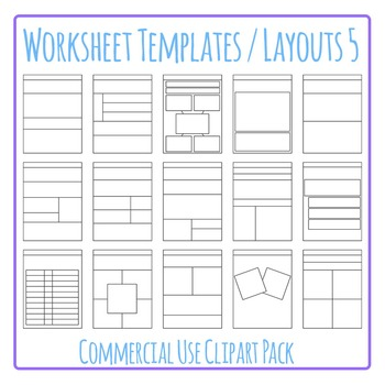 Worksheet Templates / Layouts 5 Clip Art Pack for Commercial Use