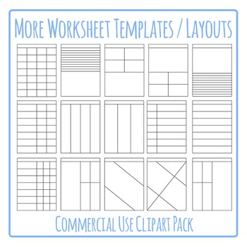 Worksheet Templates / Layouts Clip Art Pack for Commercial Use (2)